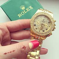 Наручные часы женские Rolex золото в стразах