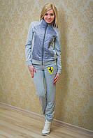Спортивные штаны женские с вышивкой светло-серый, фото 1