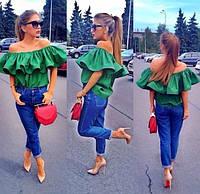 Женская блуза из хлопка с большими рюшами Yarina g-171350