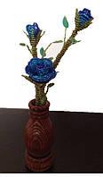 Букет голубых роз  из бисера в вазе, необычный подарок девушке (женщине) на день рождение
