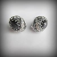 Серебряные серьги Чалма с черным улекситом и цирконами 2013