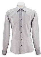 Классическая мужская приталенная рубашка вышиванка офисного типа. Деловая вышиванка