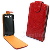 Откидной чехол-флип для Samsung Galaxy S3 (i9300) Croco Красный