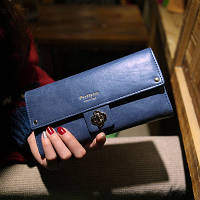 Женский кошелек гладкий синий