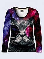 """Стильная женская футболка с фотопринтом """"Кот с очками"""""""