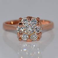 Кольцо «Рондо» с устойчивым золотым покрытием и цирконием.