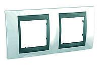 """Рамка двухместная Unica TOP """"Белоснежный/графит"""" Schneider Electric (Шнейдер Уника Топ)"""