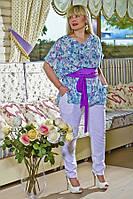 Блуза из шифоновой ткани в летний цветочный принт.