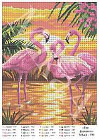 "Схема для полной зашивки бисером - ""Три фламинго"""
