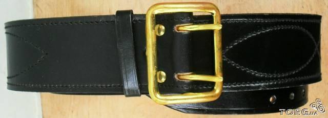 Ремень кожаный чёрный миноборона с латунной сварной пряжкой