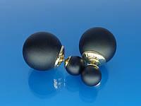"""Брендовые серьги """"Dior"""" с золотым покрытием и чёрной матовой эмалью."""