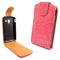 Откидной чехол-флип для Samsung Galaxy S3 mini (i8190) Croco Розовый Розовый