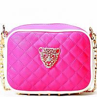 Женская сумка - клатч розовый  с белым