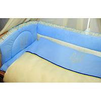 Cпальный комплект в детскую кроватку  с защитой и балдахином ФЛАГ 100% хлопок ТМ Медисон Украина