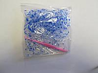 Резиночки для плетения браслетов прозрачные с голубой точкой