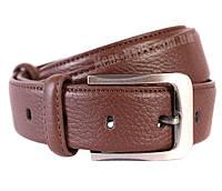 Добротный кожаный ремень под брюки коричневого цвета