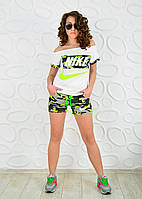 Спортивный костюм футболка и шорты камуфляж nike