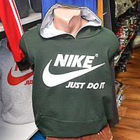 Мужская фирменная кофта-кенгурушка Nike (темно-зеленая)