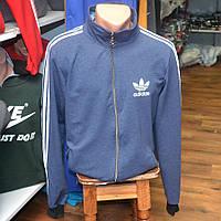 Мужская фирменная кофта на замке Adidas (сине-серая) - Код 34-43