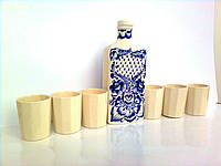 """Подарочный набор. Графин """"Праздничный с синей сеткой"""" 0,25л и 6 гранёных стаканов"""