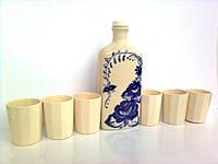 """Подарочный набор. Графин """"Праздничный с синей веткой"""" 0,25л и 6 гранёных стаканов"""