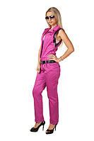 Женский стильный яркий комбинезон с брюками 402  Розовый