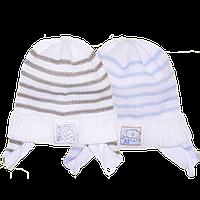 Детская вязаная шапочка на завязках, ТМ Мамина мода, р.40-42, Украина