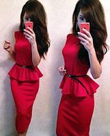 Платье   с баской АА-456 красное