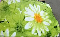 Двуспальное покрывало  микрофибра на зеленом ромашки