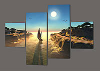 Стильная модульная картина Морской пейзаж 160*114 см Код: 256.4k.160