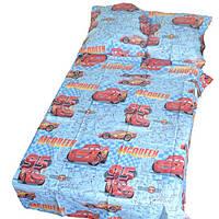 Постельное белье детское в кроватку Gold тачки на голубом