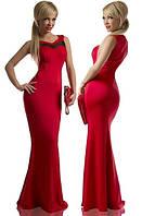 Женское длинное платье с сеточкой на груди в расцветках Л836