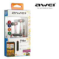 Наушники-гарнитура AWEI T10vi Red with remote control for HTC