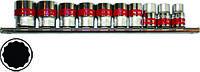 "Набор торцевых головок, 3/8"", 12-ти гр., CrV, 10шт., 9-19мм // MATRIX"