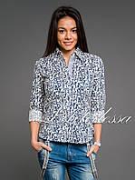 Рубашка орнамент белый/тёмно-синий