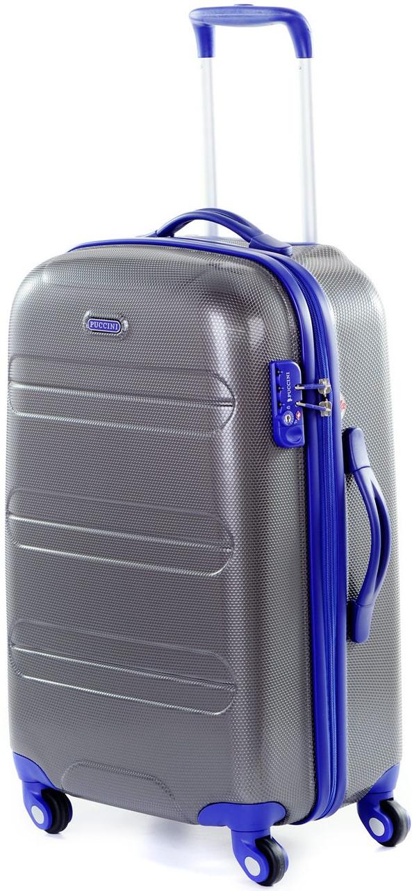 Пластиковый средний  вместительный чемодан на 4-х колесах 61 л. Puccini PC012, 6302/05 антрацит