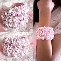 """""""Бело-розовые фрезии"""" браслет с цветами  из полимерной глины. Ручная работа"""