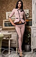 Модный женский костюм из пиджака с баской украшено кружевами на пиджаке карманы материал кукуруза