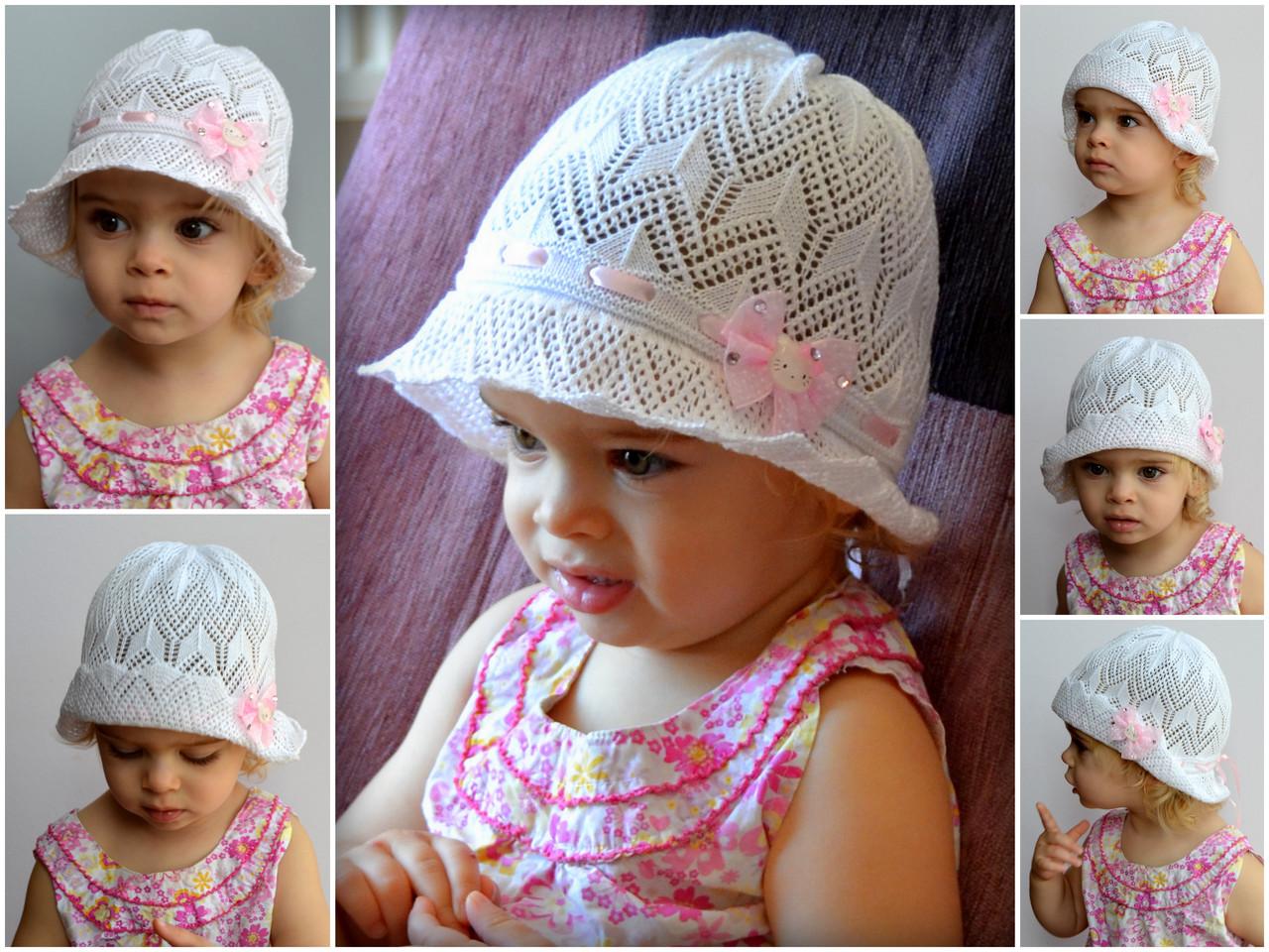 Вязание крючком летняя шапочка для девочки 2 года 2