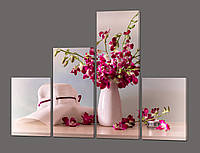Модульная картина Шляпа и орхидеи 120*96,5 см Код: 578.4к.120