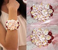 """""""Вишенки"""" браслет на руку с цветами для девушки из полимерной глины"""