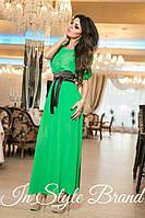 Платье с поясом-кушаком IS-1526 зеленое