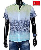 Модная рубашка короткий рукав.Яркая мужская тенниска на лето.