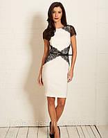 Модное трикотажное платье с кружевом