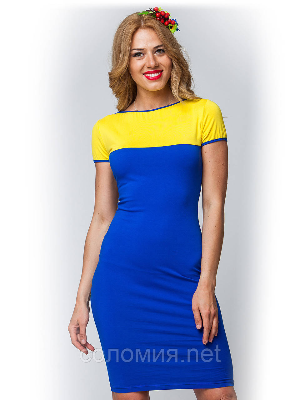 Платье желто синее