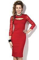 Трикотажное красное платье с гипюровыми вставками