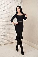 Деловое платье футляр с воланом