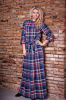 Женское длинное платье с поясом в клетку 8009 Весна-Осень 2015 Синий
