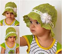 Детская летняя шапочка на девочку х/б панамка вязанная