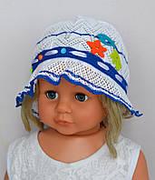 Детская летняя шапочка на девочку х/б панамка Море, хлопок. р.46-49 (1-3 года)